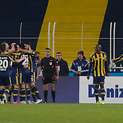 Fenerbahce's Moussa Sow celebrate his goal with team mate during their Turkish superleague soccer derby Fenerbahce between Besiktas at the Sukru Saracaoglu stadium in Istanbul Turkey on Sunday 22 March 2015. Photo by Aykut AKICI/TURKPIX