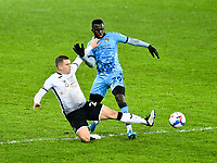 1Football - 2020 / 2021 Sky Bet Championship - Swansea City vs Coventry City - Liberty Stadium<br /> <br /> Julien Da Costa of Coventry City challenged by Jake Bidwell Swansea<br /> <br /> COLORSPORT/WINSTON BYNORTH