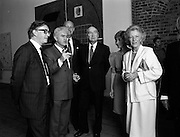 19/08/1988<br /> 08/19/1988<br /> 19 August 1988<br /> Opening of ROSC '88 at the Guinness Hop Store, Dublin. President Patrick Hillery (third from right)who officially opened the exhibition listens intently as Patrick Murphy, ROSC Chairman, (2nd from left) explains an exhibit, with Harry Byrne (left)  Financial Director, Guinness Ireland and Maeve Hillery (right).