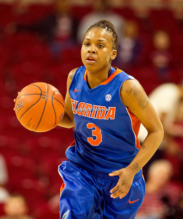 Jan 29, 2012; Fayetteville, AR, USA; Florida Gators guard Lanita Bartley (3) dribbles the ball during a game against the Arkansas Razorbacks at Bud Walton Arena. Arkansas defeated Florida 73-72 in the second overtime. Mandatory Credit: Beth Hall-US PRESSWIRE