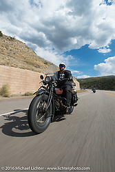Clint Funderburg riding his 1929 Indian Chief during stage 11 (289 miles) of the Motorcycle Cannonball Cross-Country Endurance Run, which on this day ran from Grand Junction, CO to Springville, UT., USA. Tuesday, September 16, 2014.  Photography ©2014 Michael Lichter.