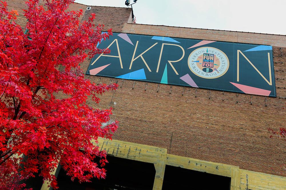Destination Downtown Akron sign at Lock 4 park.