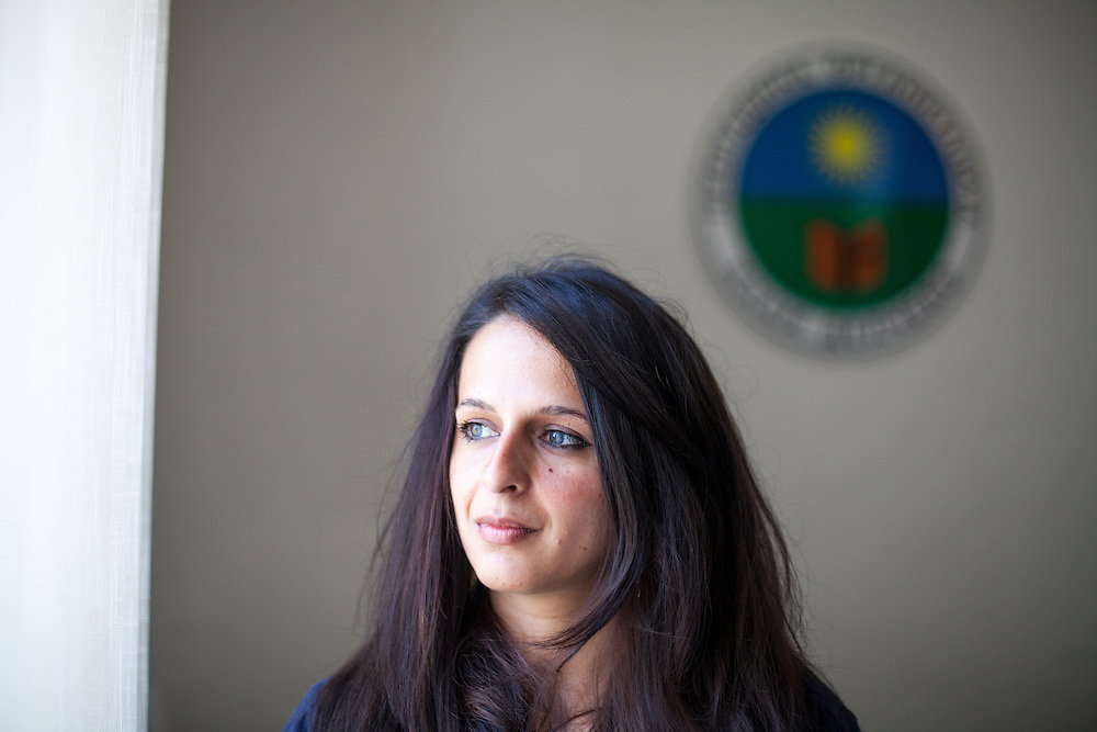 Romina Kajtazova - working as a paralegal for NGO Kham - in the office of the organisation in the city of Delcevo, Macedonia.