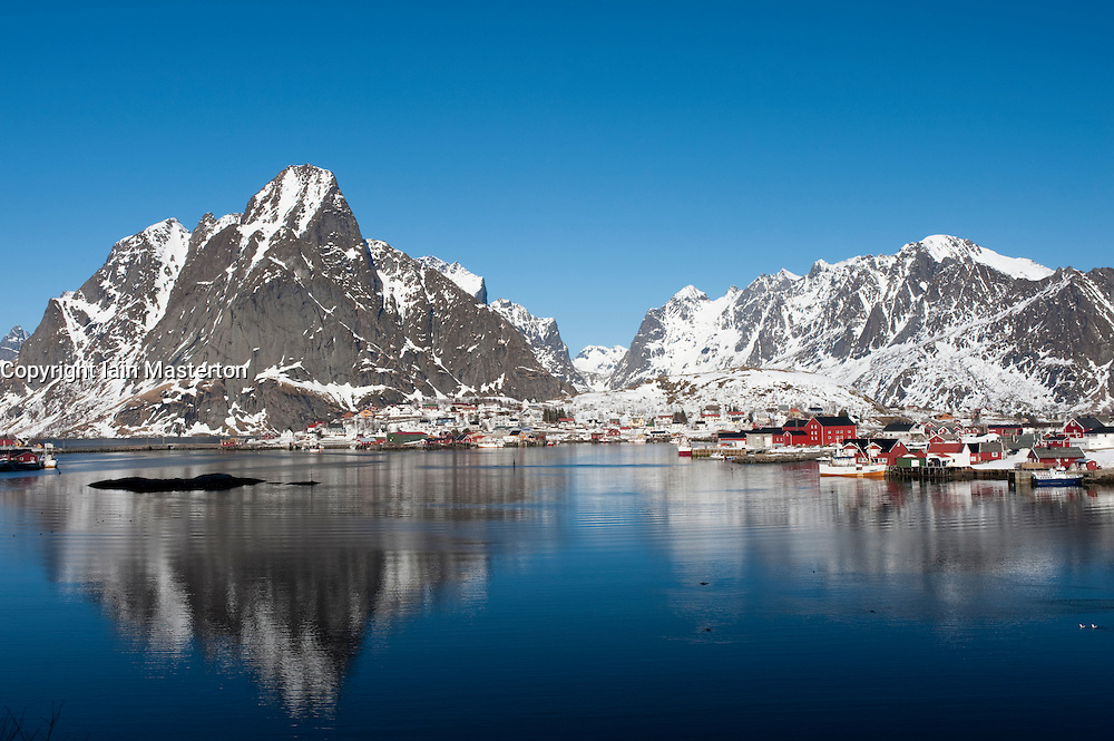 View of harbour and lagoon at village of Reine in Lofoten Islands in northern Norway