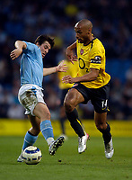 Photo: Jed Wee.<br /> Manchester City v Arsenal. The Barclays Premiership. 04/05/2006.<br /> <br /> Arsenal's Thierry Henry (R) glides past Manchester City's Joey Barton.