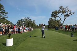 March 15, 2019 - Ponte Vedra Beach, FL, U.S. - PONTE VEDRA BEACH, FL - MARCH 15: Tiger Woods of the United States hits a tee shot on the first hole during the second round of THE PLAYERS Championship on March 15, 2019 on the Stadium Course at TPC Sawgrass in Ponte Vedra Beach, Fl.  (Photo by David Rosenblum/Icon Sportswire) (Credit Image: © David Rosenblum/Icon SMI via ZUMA Press)