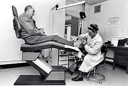 Chiropodist, hospital, Nottingham UK 1991