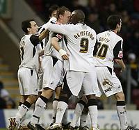 Photo: Aidan Ellis.<br /> Bradford City v Swansea City. Coca Cola League 1. 13/01/2007.<br /> Swansea's Adebayo Akinfenwa congratulates Kristian O'Leary after scoring the eqauliser