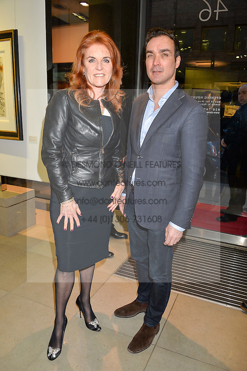 SARAH, DUCHESS OF YORK and MANUEL FERNANDEZ at a private view of work by Christian Hook in aid of Children in Crisis held at Clarendon Fine Art, 46 Dover Street, London on 17th March 2016.