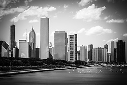 High resolution picture of Chicago skyline in black and white with Lake Michigan lakefront, and Crain Communications building (Smurfit-Stone Building), Trump Tower Building, One Prudential Plaza Building, Two Prudential Plaza Building, and Blue Cross Blue Shield building.