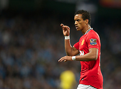 MANCHESTER, ENGLAND - Monday, April 30, 2012: Manchester United's Nani in action against Manchester City during the Premiership match at the City of Manchester Stadium. (Pic by Chris Brunskill/Propaganda)