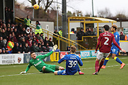 AFC Wimbledon striker Joe Pigott (39) with a chance on goal during the EFL Sky Bet League 1 match between AFC Wimbledon and Northampton Town at the Cherry Red Records Stadium, Kingston, England on 10 February 2018. Picture by Matthew Redman.