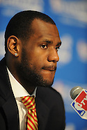 LeBron James of the Cleveland Cavaliers during a press conference after a game in Cleveland, April 30, 2008 at Quicken Loans Arena.