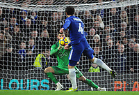 Football - 2017 / 2018 Premier League - Chelsea vs. Southampton<br /> <br /> Southampton goalkeeper, Fraser Forster, saves a shot from Cesc Fabregas at Stamford Bridge.<br /> <br /> COLORSPORT/ANDREW COWIE