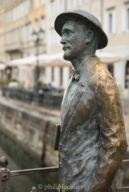 Side view of bronze statue of writer James Joyce on Grand Canal, Via Roma, Trieste, Italy
