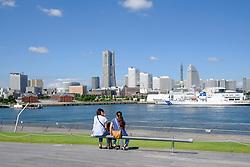 View of Osanbashi passenger terminal and skyline of Minato Mirai in Yokohama Port in Japan