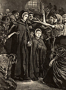 Elizabeth Fry (born Gurney - 1780-1845) English Quaker (Society of Friends) prison reformer, with Anna Buxton, visiting women prisoners in Newgate prison, London, 15 February 1813.  Engraving from 'Heroes of Britain in Peace and War' by Edwin Hodder (London, c1880).