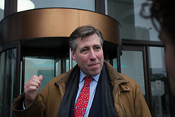 © Licensed to London News Pictures. 20/02/2016. London, UK. Graham Brady MP leaving a 'Vote Leave' meeting in Westminster after prime minister David Cameron announced a referendum on the EU on June 23rd. Photo credit: Ben Cawthra/LNP
