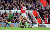 Ray Parlour celebrates scoring his 1st and Arsenals 2nd goal as a dejected Shay Given looks on. Arsenal 5:0 Newcastle United, F.A.Carling Premiership, 9/12/2000. Credit Colorsport / Stuart MacFarlane.
