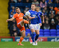 Blackpool's Jay Spearing vies for possession with Ipswich Town's Jon Nolan<br /> <br /> Photographer Chris Vaughan/CameraSport<br /> <br /> The EFL Sky Bet League One - Ipswich Town v Blackpool - Saturday 23rd November 2019 - Portman Road - Ipswich<br /> <br /> World Copyright © 2019 CameraSport. All rights reserved. 43 Linden Ave. Countesthorpe. Leicester. England. LE8 5PG - Tel: +44 (0) 116 277 4147 - admin@camerasport.com - www.camerasport.com