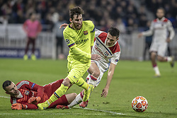 February 19, 2019 - Lyon, França - LYON, LY - 19.02.2019: LYON X BARCELONA - Messi from Barcelona and Lopes from Lyon during the match between Lyon and Barcelona held at Parc Olympique Lyonnais in Lyon. The match is valid for the octaves of the Champions League 2018/2019. (Credit Image: © Richard Callis/Fotoarena via ZUMA Press)