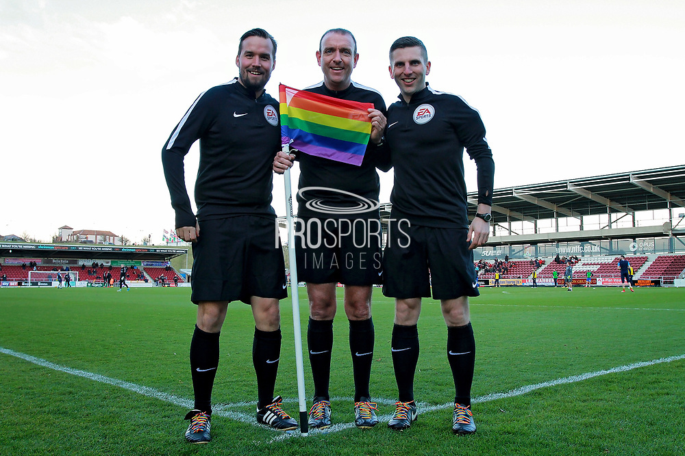 Referee Carl Boyeson and his assistants Michael Webb and Marc Wilson pose with rainbow laces before the EFL Sky Bet League 1 match between Northampton Town and Bury at Sixfields Stadium, Northampton, England on 25 November 2017. Photo by Nigel Cole.
