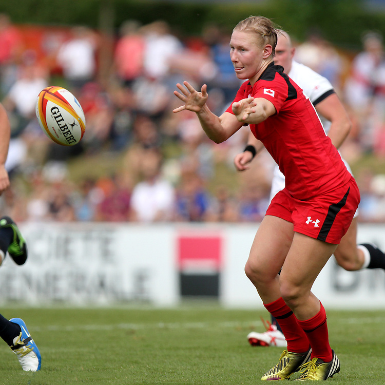 Mandy Marchak in action. England v Canada Pool A match at WRWC 2014 at Centre National de Rugby, Marcoussis, France, on 9th August 2014