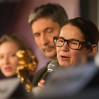 """Movie director Ildiko Enyedi (R) of Hungary talks about her new Golden Bear winning movie """"On Body and Soul"""" during a press conference in Budapest, Hungary on February 21, 2017. ATTILA VOLGYI"""