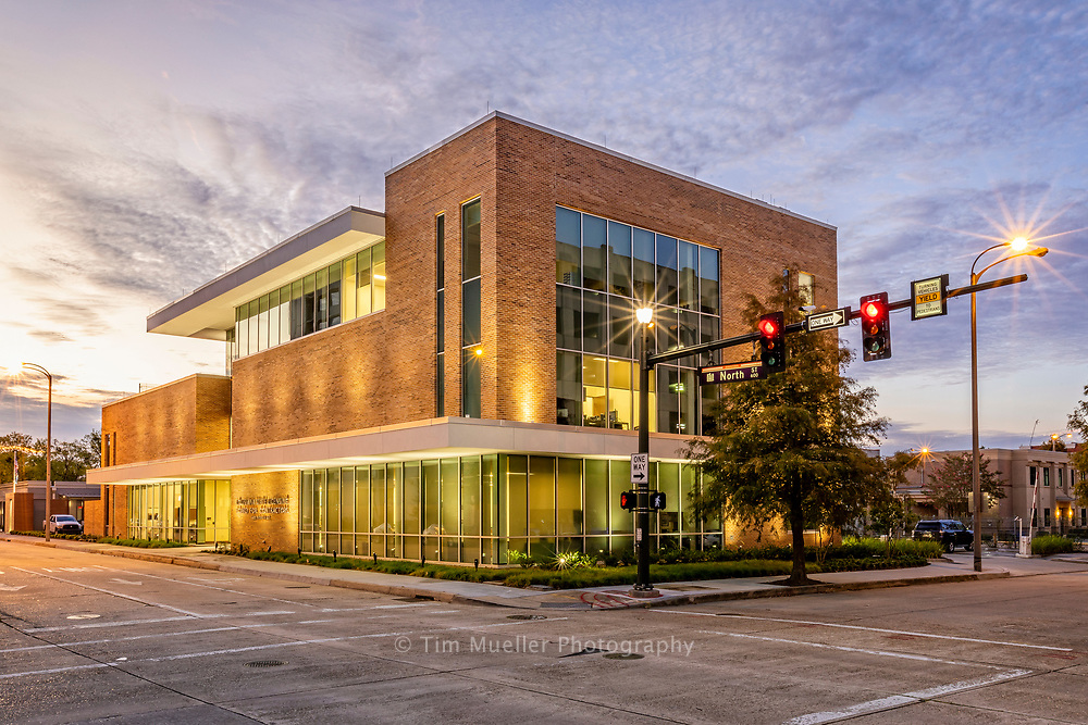 The Louisiana State Licensing Board for Contractors building at 600 North Street is dedicated in memory of founding board member Statie Preston Eggers, Jr. The over 19,000 square foot building was designed by RHH Architects and built by general contractor Ratcliff Construction.