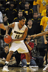 Jan 23, 2010; Columbia, MO, USA; Missouri Tigers forward Keith Ramsey (15) looks to pass in the first half of the game against the Nebraska Cornhuskers at Mizzou Arena in Columbia, MO. Missouri won 70-53. Mandatory Credit: Denny Medley-US PRESSWIRE