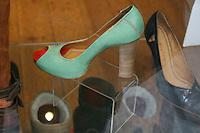 Shoe display in a shop window in Dublin Ireland