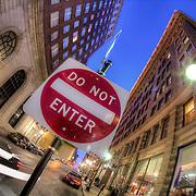 10th and Baltimore street scene, downtown Kansas City, Missouri.