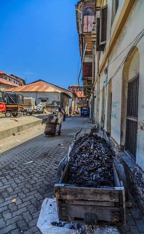 Charcoal in Old Town in Mombasa, Kenya. Over 85% of the population rely on traditional fuels such as wood, charcoal, dung, and agricultural residues for cooking and heating.