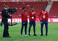 England players inspecting the pitch during the U21 UEFA EURO first qualifying round match between England and Scotland at the Riverside Stadium, Middlesbrough, England on 6 October 2017. Photo by Paul Thompson.