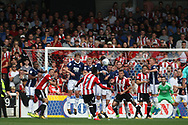 Brentford's  Florian Jozefzoon (c) takes a free kick. EFL Skybet football league championship match, Brentford  v Nottingham Forest at Griffin Park in London on Saturday 12th August 2017.<br /> pic by Steffan Bowen, Andrew Orchard sports photography.