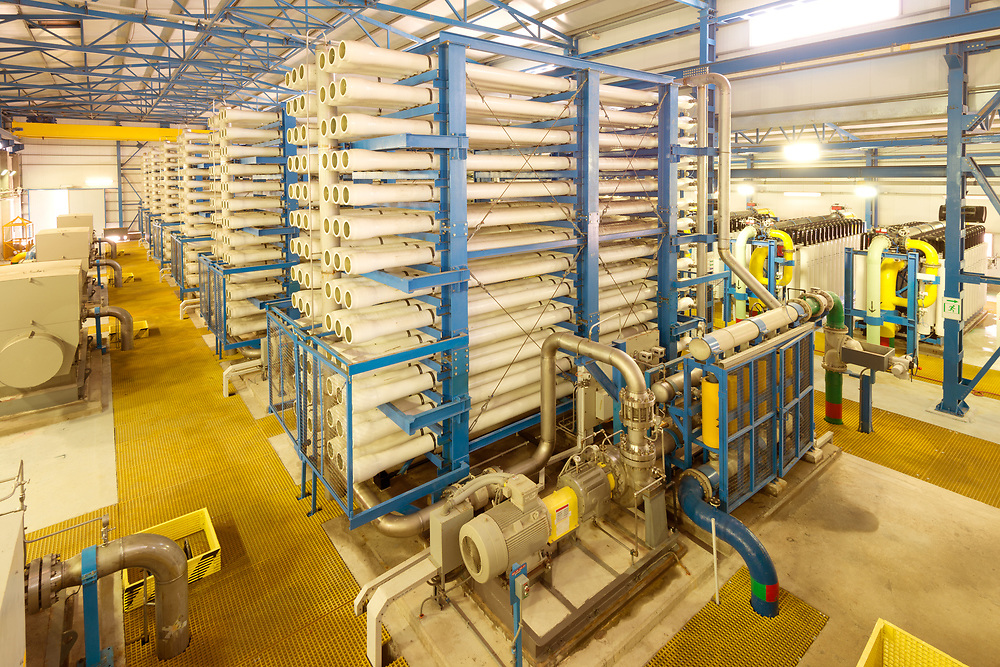 The reverse osmosis equipment in a desalination plant.