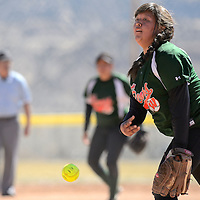 032114       Adron Gardner<br /> <br /> Wingate Bear Autumn Armijo (12) releases a pitch to a Hatch Valley Bear in Grants Friday.
