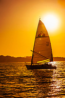 Sailing on Monterey Bay at sunset, Monterey, Monterey County, California USA