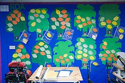 Record of students' achievements (RoA) on notice board in corridor of special school,