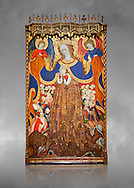 Gothic Catalan altarpiece depicting the Madonna of Mercy by Bonant Zaortiga, circa 1430-1440, tempera and gold leaf on wood, from the church of Mare de Dieu de Carrasca , Blancas, Terol, Spain. Against a grey art background. <br /> Bonnat Zaortiga was one of the most prominent representatives of the international Gothic. The Mother of God of Mercy  protects humans with her cape, symbolizing one of the most feared evils of the European Middle Ages, plague, often understood as a punishment for the sins of mankind. This was the central panel of the altarpiece of the church of the Mother of God. National Museum of Catalan Art, Barcelona, Spain, inv no: MNAC 3945. . .<br /> <br /> If you prefer you can also buy from our ALAMY PHOTO LIBRARY  Collection visit : https://www.alamy.com/portfolio/paul-williams-funkystock/gothic-art-antiquities.html  Type -     MANAC    - into the LOWER SEARCH WITHIN GALLERY box. Refine search by adding background colour, place, museum etc<br /> <br /> Visit our MEDIEVAL GOTHIC ART PHOTO COLLECTIONS for more   photos  to download or buy as prints https://funkystock.photoshelter.com/gallery-collection/Medieval-Gothic-Art-Antiquities-Historic-Sites-Pictures-Images-of/C0000gZ8POl_DCqE