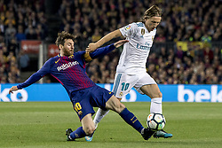 May 6, 2018 - Barcelona, Catalonia, Spain - Leo Messi vies with Modric' during the spanish football league La Liga match between FC Barcelona and Real Madrid at the Camp Nou Stadium in Barcelona, Catalonia, Spain on May 6, 2018  (Credit Image: © Miquel Llop/NurPhoto via ZUMA Press)