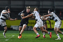 Tyler Morgan of Dragons is tackled by Giulio Bisegni of Zebre<br /> <br /> Photographer Craig Thomas/Replay Images<br /> <br /> Guinness PRO14 Round 7 - Dragons v Zebre - Saturday 30th November 2019 - Rodney Parade - Newport<br /> <br /> World Copyright © Replay Images . All rights reserved. info@replayimages.co.uk - http://replayimages.co.uk