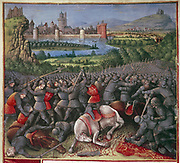 Crusaders (1096-1291). From  'Passaiges d'outremer' (Voyages to Palestine) illuminated by Sebastian Marmoret (c1490)  Detail.   Fallen knights and horses.  Manuscript. Bibliotheque Nationale, Paris.