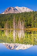 Lassen Peak reflected in Hat Lake, Lassen Volcanic National Park, California