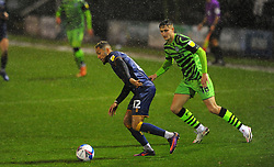 Jake Young of Forest Green Rovers applies pressure on Kellan Gordon of Mansfield Town- Mandatory by-line: Nizaam Jones/JMP - 14/11/2020 - FOOTBALL - innocent New Lawn Stadium - Nailsworth, England - Forest Green Rovers v Mansfield Town - Sky Bet League Two