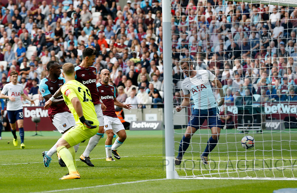 Tottenham's Harry Kane misses an open goal during the premier league match at the London Stadium, London. Picture date 23rd September 2017. Picture credit should read: David Klein/Sportimage