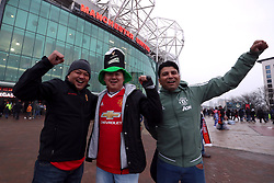 Manchester United fans outside the ground ahead of the Emirates FA Cup, quarter final match at Old Trafford, Manchester.