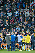 Chesham fans applaud their players after the match during the The FA Cup match between Bradford City and Chesham FC at the Coral Windows Stadium, Bradford, England on 6 December 2015. Photo by Mark P Doherty.