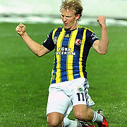 Fenerbahce's Dirk Kuijt celebrate victory during their Turkish SuperLeague Derby match Trabzonspor between Fenerbahce at the Avni Aker Stadium at Trabzon Turkey on Sunday, 17 February 2013. Photo by TURKPIX