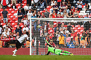 Brandon Hanlan of Bromley FC (9) scores during the penalty shoot out of the FA Trophy match between Brackley Town and Bromley at Wembley Stadium, London, England on 20 May 2018. Picture by Stephen Wright.